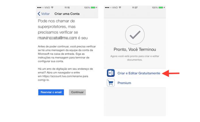 Finalizando o login no Office com uma nova conta de serviços da Microsoft no iOS (Foto: Reprodução/Marvin Costa)