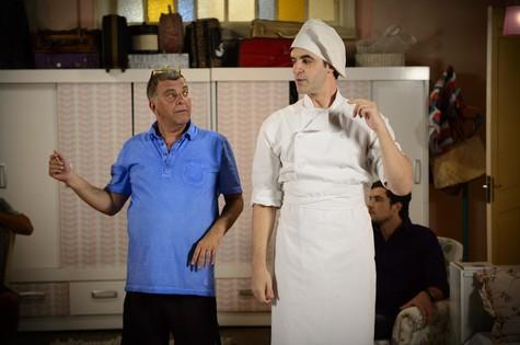 Jorge Fernando ensaia com Rodrigo Lopez (Foto: Alex Carvalho/ TV Globo)