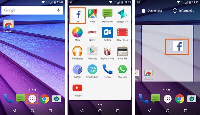 Adicione seus apps favoritos na tela inicial do Moto G 3 (Foto: Reprodução/Barbara Mannara)