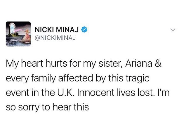 """Nicki Minaj: """"Meu coração dói pela minha irmã, Ariana, e por todas as famílias afetadas por esta tragédia no Reino Unido. Vidas inocentes foram perdidas. Eu sinto muito, muito"""" (Foto: Twitter/Reprodução)"""