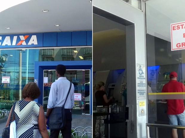 Em Pouso Alegre, MG, funcionários de bancos públicos estão em greve nesta quinta-feira, 8 (Foto: Daniela Ayres/ G1)