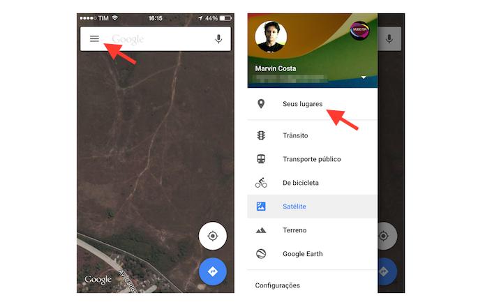 Acessando as configurações do Google Maps no celular (Foto: Reprodução/Marvin Costa)