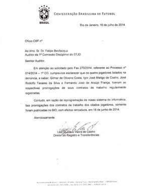 Documento enviado pela CBF ao STJD sobre os jogadores do Brasília (Foto: Reprodução/Site do Brasília)