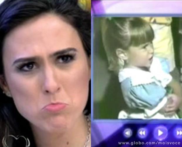 Tatá Werneck vê vídeo de infância no Mais Você (Foto: Mais Você / TV Globo)