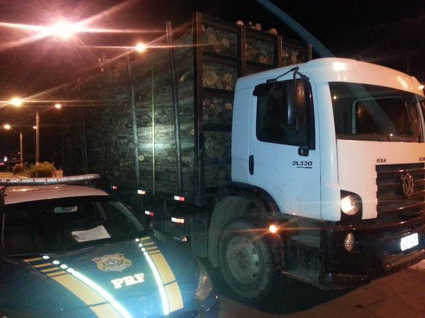 Caminhão tinha mais de 16 toneladas de excesso de carga (Foto: PRF SC/Divulgação)