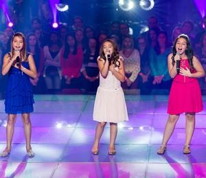 Giulia Nassa, Luiza Haggstram e Pérola Crepaldi na primeira Batalha do The Voice Kids - time Ivete Sangalo (Foto: Isabella Pinheiro/Gshow)