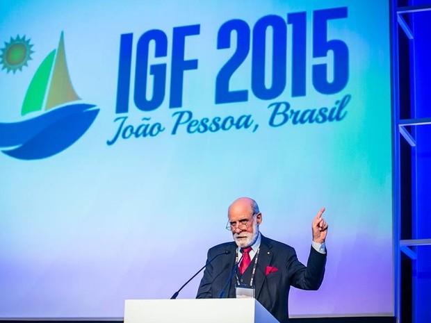 Vint Cerf, vice-presidente do Google e um dos fundadores da internet, participa do IGF 2015 (Foto: Ricardo Matsukawa/ONU)