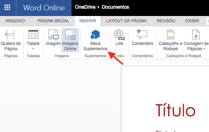 Acessando a página de complementos do Word Online (Foto: Reprodução/Marvin Costa)