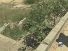 Passagem inacabada sobre a linha férrea tem mato e lixo em Campinas