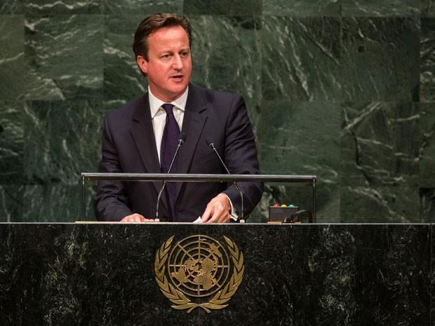 O primeiro-ministro britânico David Cameron fala durante a 69ª Assembleia Geral da ONU, em Nova York, na noite de quarta-feira (24) (Foto: Andrew Burton/Getty Images/AFP)