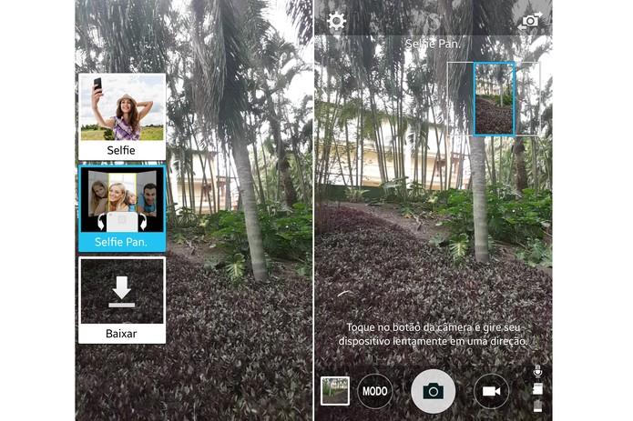 """Para utilizar a Selfie Panorâmica, clique em """"Modo"""" e, depois, selecione """"Selife Pan."""" (Foto: Reprodução/Lucas Mendes)"""