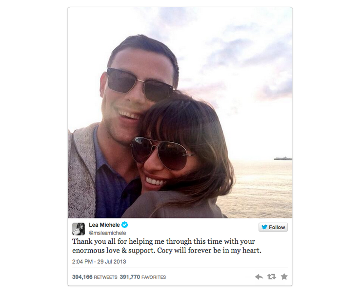 Post da atriz Lea Michele em homenagem ao namorado Cory (Foto: Reprodução/Twitter)