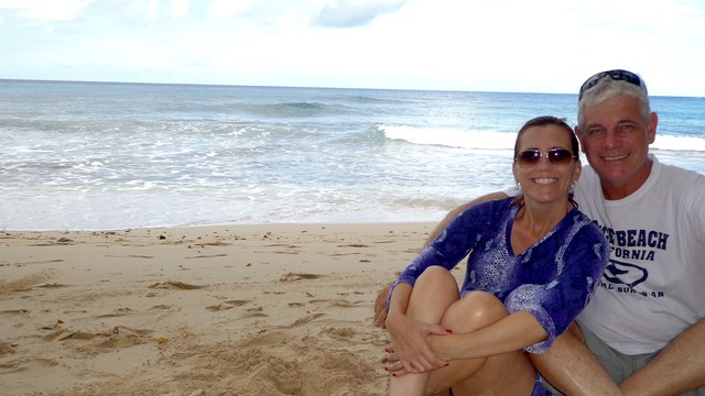 Rosana Valle e seu marido Gerson em Barbados  (Foto: Arquivo Pessoal)