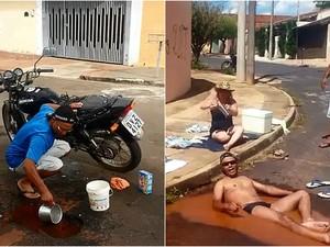 Morador toma banho e lava a moto em vazamentos de São Carlos, SP (Foto: Reprodução EPTV)