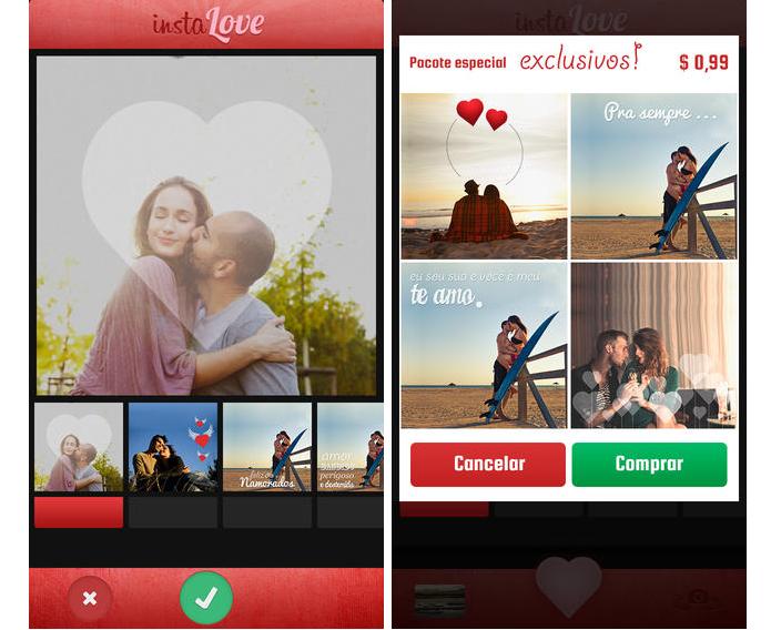 InstaLOVE oferece molduras românticas para decorar fotos de casais (Foto: Divulgação/InstaLOVE)