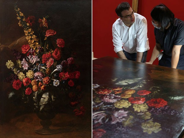 À esquerda, a obra-prima 'Flores', do mestre italiano do século 17 Paolo Porpora; à direita, restauradores avaliam estrago na tela de US$ 1,5 milhão após garoto tropeçar e se apoiar na peça (Foto: Divulgação)