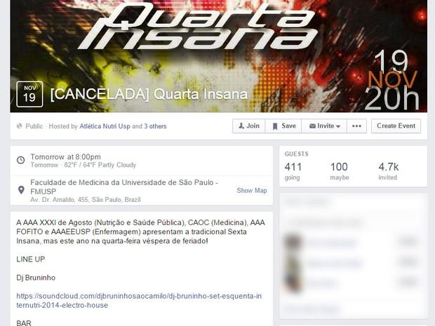 No Facebook, festa Quarta Insana, que aconteceria no dia 19, aparece como cancelada (Foto: Reprodução/Facebook)