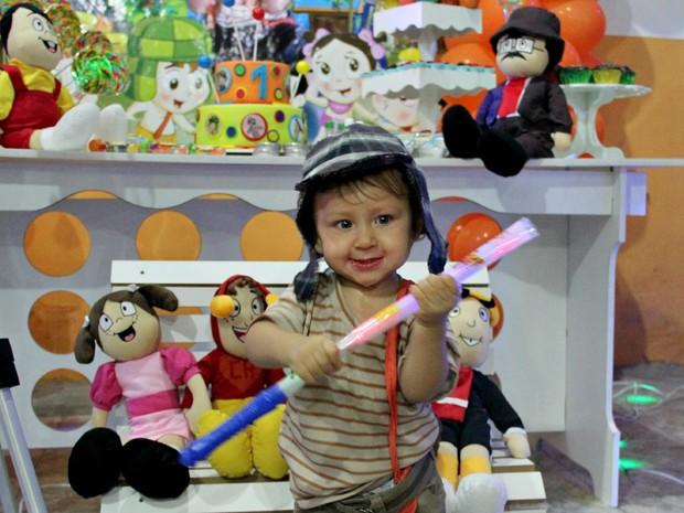 Criança comemorou aniversário de um ano vestida de Chaves (Foto: Indiara Bessa/G1 AM)