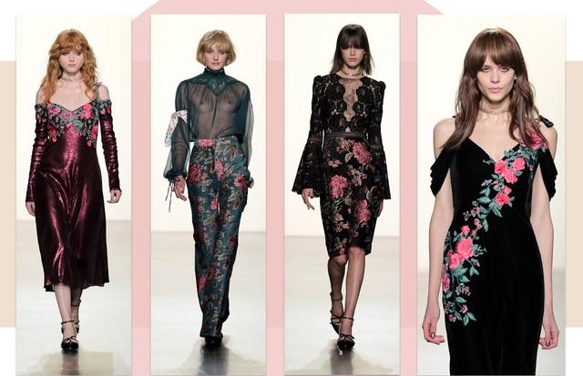 Tendência bordados florais: Tadashi Shoji (Foto: Reprodução, Getty, Antonio Barros e ImaxTree)
