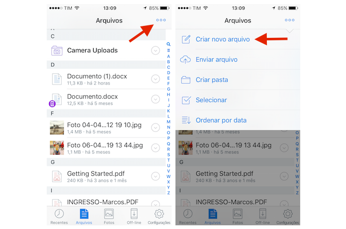 Acessando a ferramenta para criar um novo arquivo do Dropbox para iPhone (Foto: Reprodução/Marvin Costa)