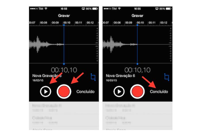 Analisando e terminando uma gravação de áudio no iPhone (Foto: Reprodução/Marvin Costa)