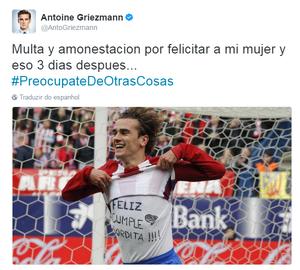 Griezmann homenagem esposa (Foto: Reprodução/Twitter)