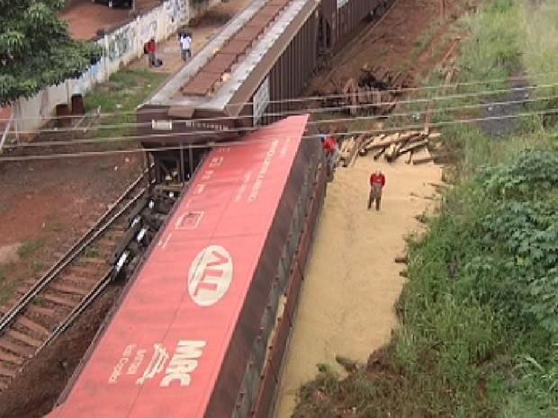Vagão descarrilou e carga de soja ficou esparramada no local (Foto: Reprodução / TV Tem)