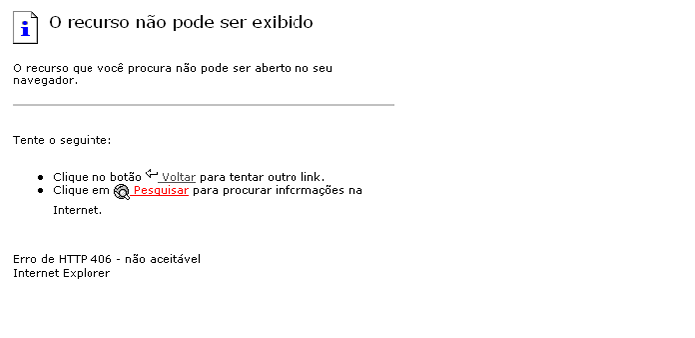 Erro HTTP 406 decorre de incompatibilidade entre servidor e navegador (Foto: Reprodução/Paulo Alves)