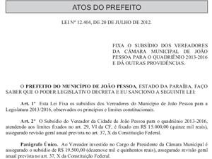 Vereadores de João Pessoa vão ter aumento de 61,6%  (Foto: Reprodução)