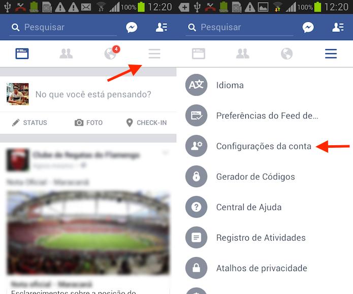 Caminho para acessar as configurações da conta do Facebook para Android (Foto: Reprodução/Marvin Costa)