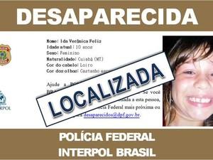 Sistema de desaparecidos da Interpol aponta que menina foi localizada (Foto: Assessoria/ PF)