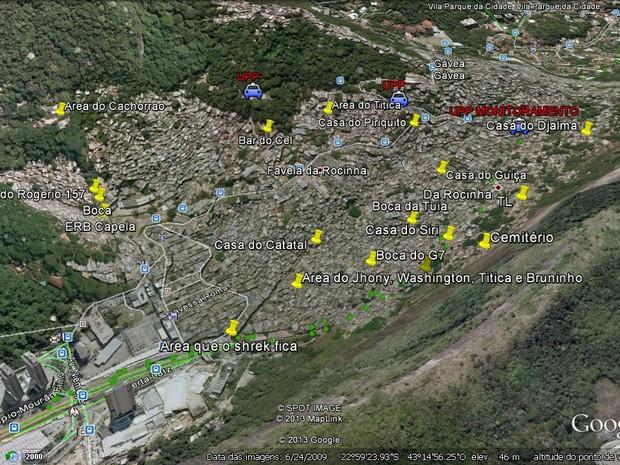 Mapa do tráfico da Rocinha feito pela polícia (Foto: Divulgação/ Polícia Civil)