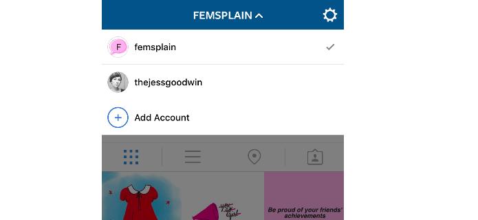 Instagram está testando gerenciamento de contas no iOS (Foto: Reprodução/Femsplain) (Foto: Instagram está testando gerenciamento de contas no iOS (Foto: Reprodução/Femsplain))