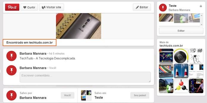 Observe que o Pin it mantém o link para acessar o site na íntegra (Foto: Reprodução/Barbara Mannara)