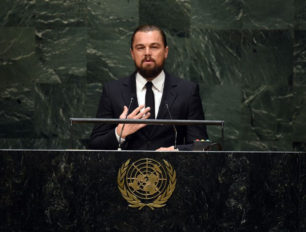 O ator Leonardo Di Caprio, nomeado mensageiro da Paz pela ONU, também alertou aos representantes de governos sobre os perigos da mudança climática (Foto: Timothy A. Clary/AFP)