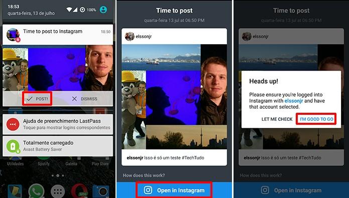 Buffer mostrará notificação na hora de publicar foto agendada para o Instagram (Foto: Reprodução/Elson de Souza)
