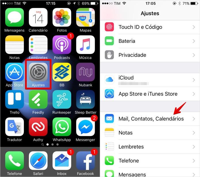 Acesse as configurações de e-mail do iOS (Foto: Reprodução/Helito Bijora)