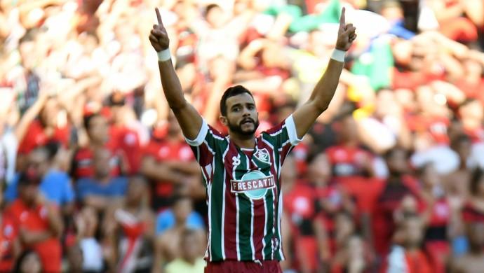 Comemoração Gol Henrique Dourado Fla-Flu Fluminense - Final Campeonato Carioca 2017 (Foto: André Durão)