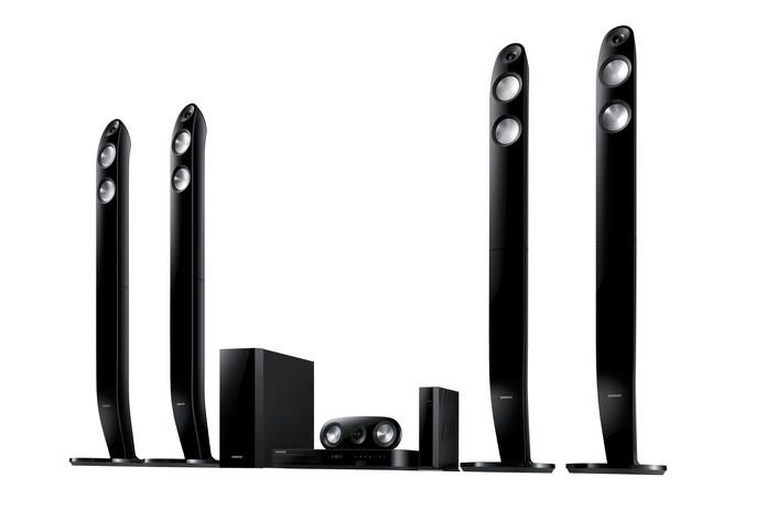 Cada conjunto de caixas de som possui uma gama de frequências própria (Foto: Reprodução/Samsung)