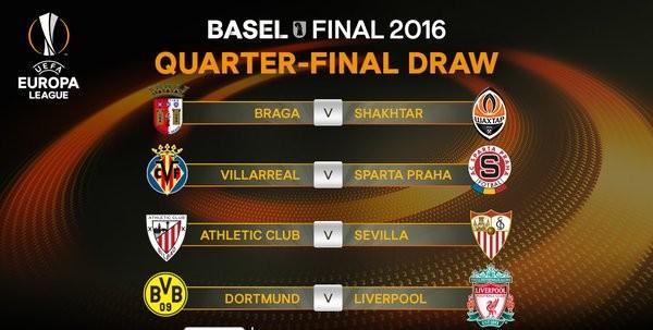 Sorteio das quartas de final da Liga Europa (Foto: Reprodução / Twitter)