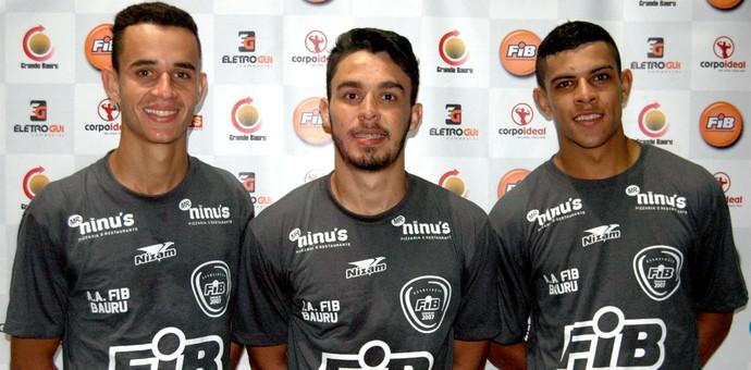 Bauru Futsal, ala Leandro, fixos Fabrício e Rafael Vilela (Foto: Rafael Peloso / A.A. FIB)