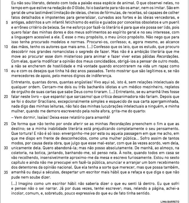Trecho de Memórias do Escrivão Isaías Caminha (Foto: Reprodução/UERJ)