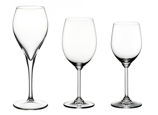 Da esquerda para a direita: taças Bordeaux, para vinhos espumantes e para brancos e rosés (Foto: Divulgação)