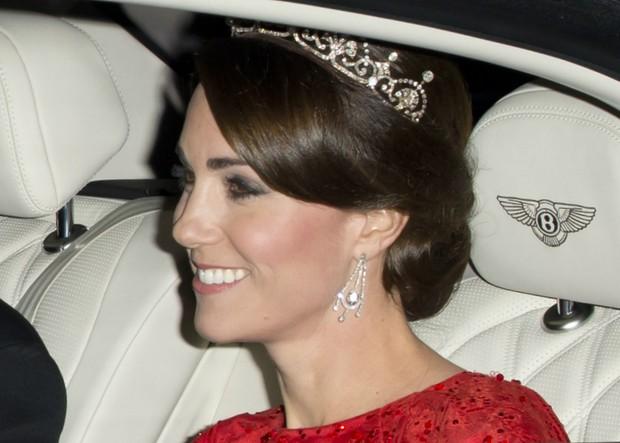 Kate Middleton em primeiro banquete oficial, em homenagem ao presidente chinês (Foto: Getty Images)