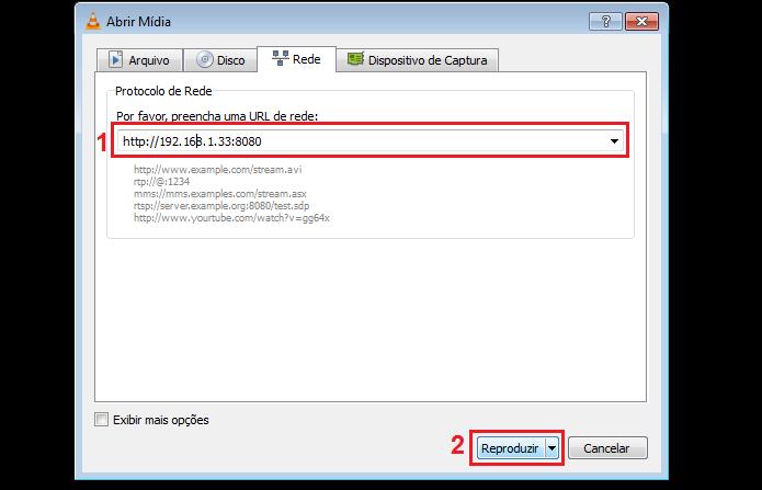 Colocando os dados do servidor do stream para reproduzir o vídeo em outro PC (Foto: Reprodução/Edivaldo Brito)
