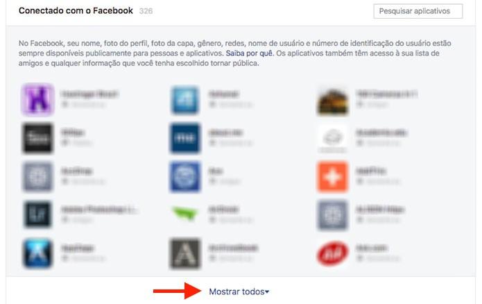 Opção para acessar todos os aplicativos e jogos vinculados a uma conta do Facebook (Foto: Reprodução/Marvin Costa)