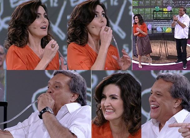 Fátima e Dennis se divertem em expeiência com gases (Foto: Encontro / TV Globo)