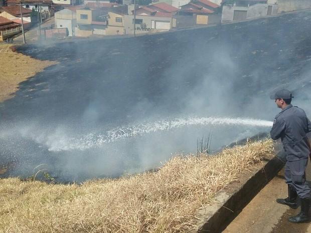 Bombeiros controlam chamas em Oliveira (Foto: Marcelo Praxedes/Divulgação)