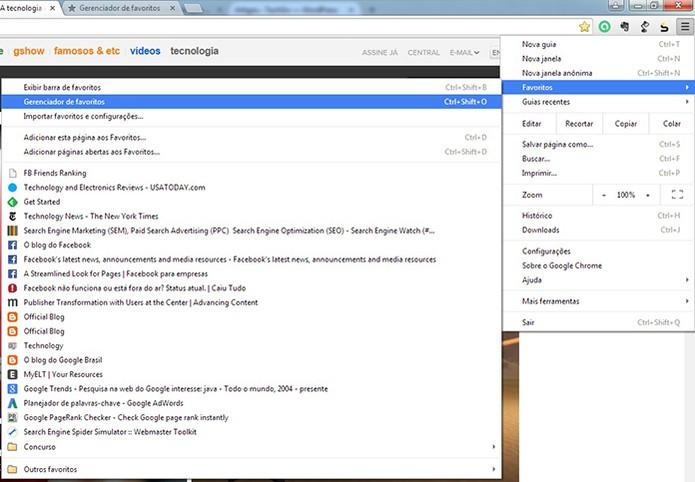 No Google Chrome acesse o menu de favoritos e depois clique para gerenciar (Foto:Reprodução/Barbara Mannara)
