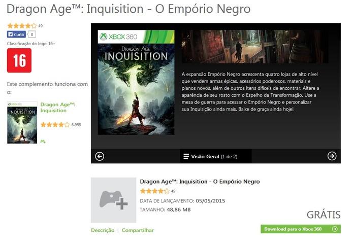 O DLC do Empório Negro pode ser baixado gratuitamente na Xbox LIVE (Foto: Reprodução/Cássio Barbosa)